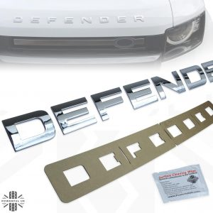 Defender Motorkap letters Chrome - LRDL330-Ch